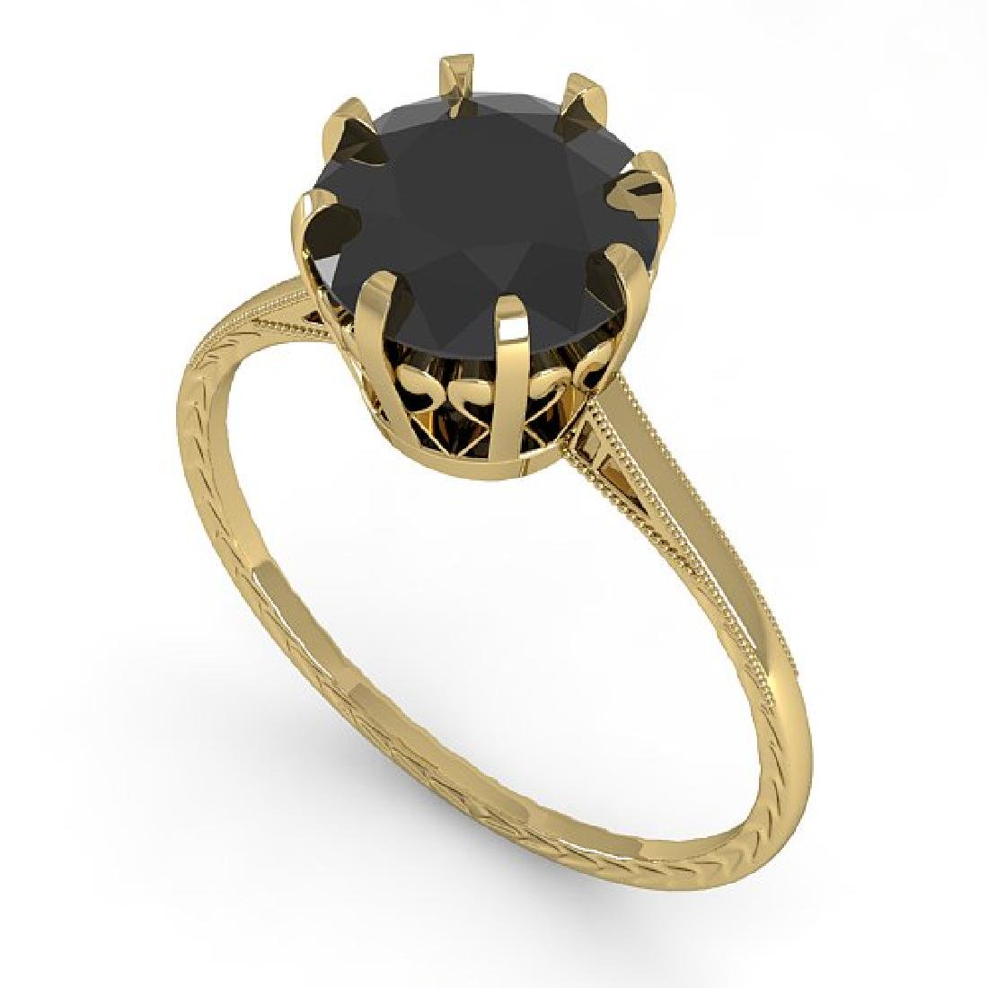 2.0 CTW Black Diamond Solitaire 14K Yellow Gold - 2