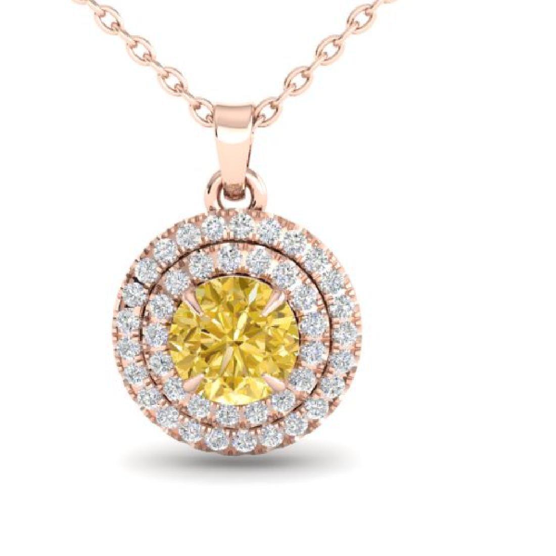 1 CTW Citrine & Micro VS/SI Diamond Solitaire Necklace