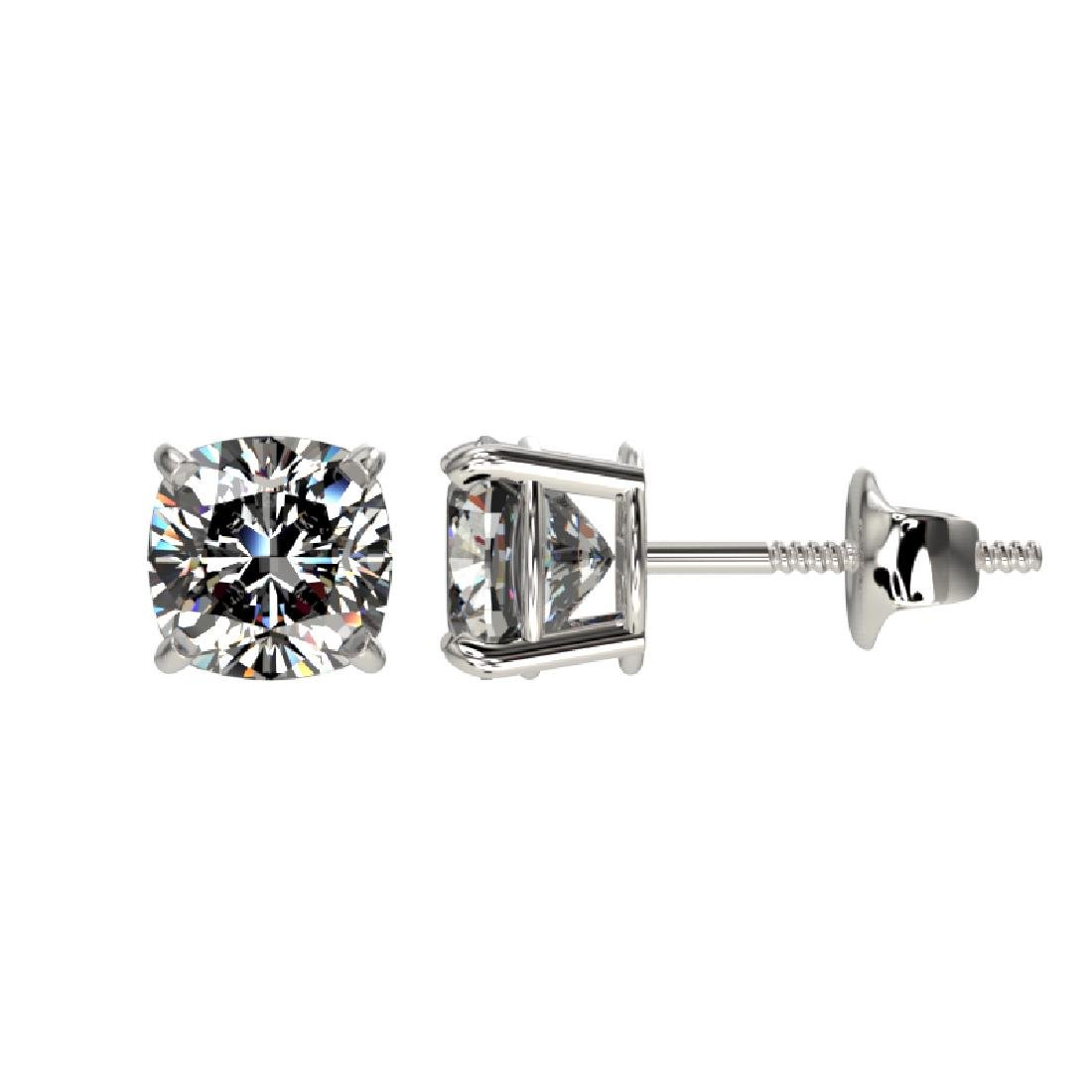 1 CTW Certified VS/SI Quality Cushion Cut Diamond Stud - 2