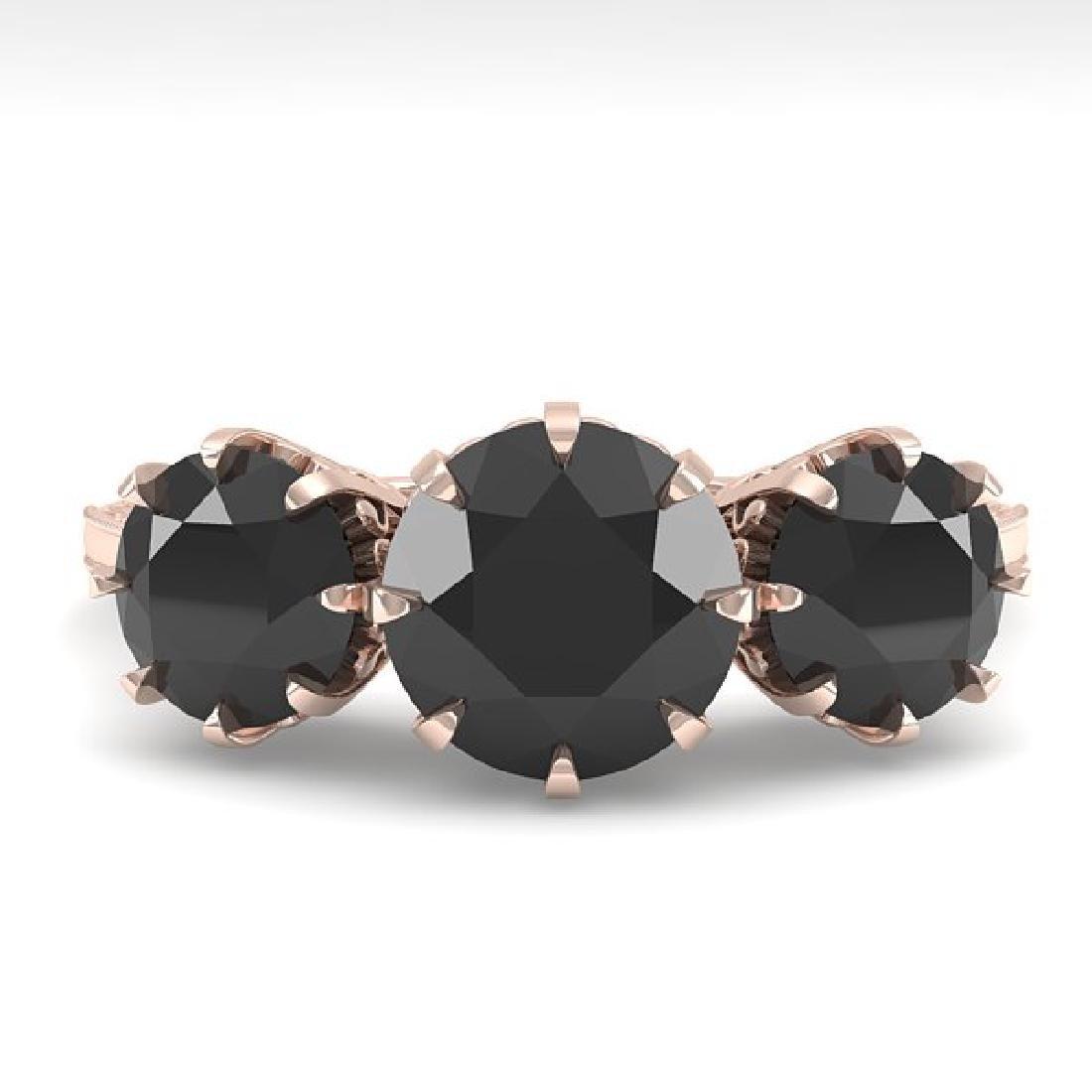 2 CTW Black Diamond Ring 14K Rose Gold