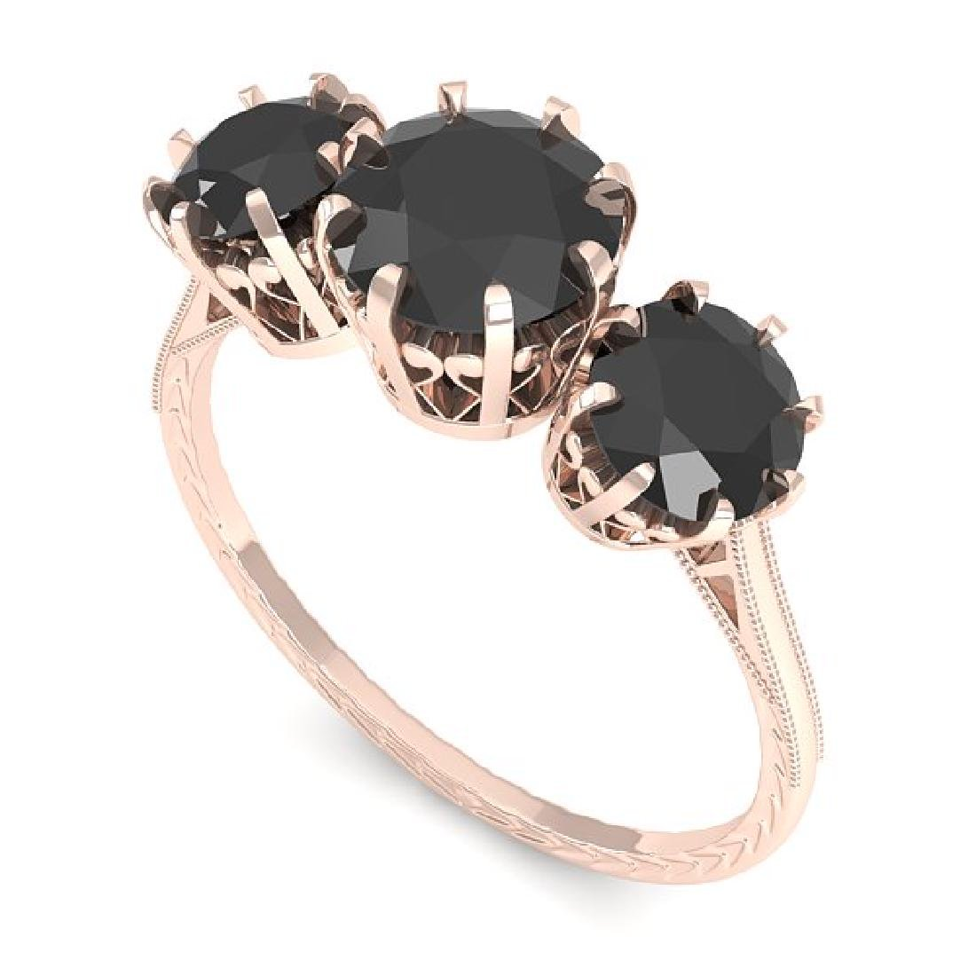 2 CTW Black Diamond Ring 14K Rose Gold - 2