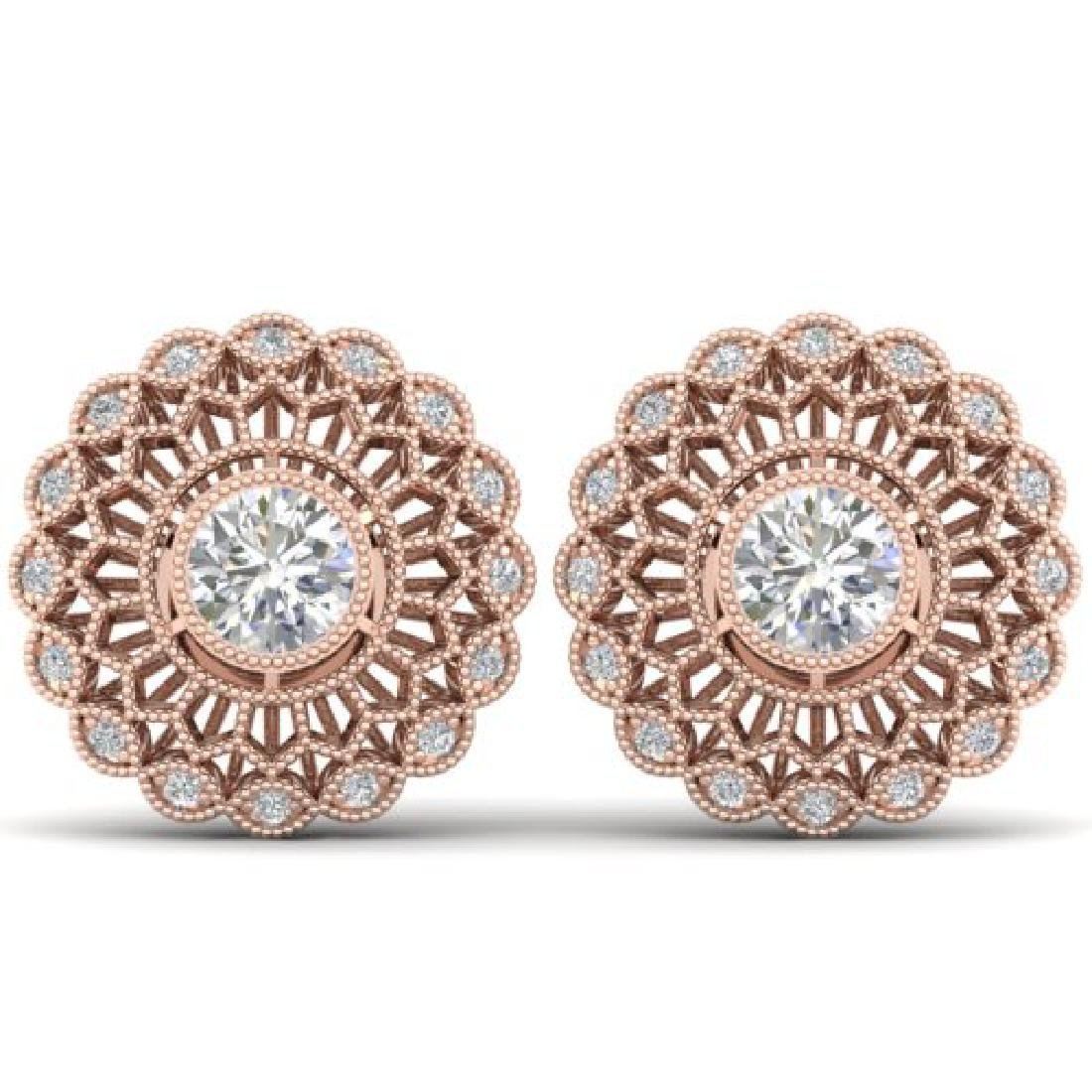 1.5 CTW Certified VS/SI Diamond Art Deco Stud Earrings