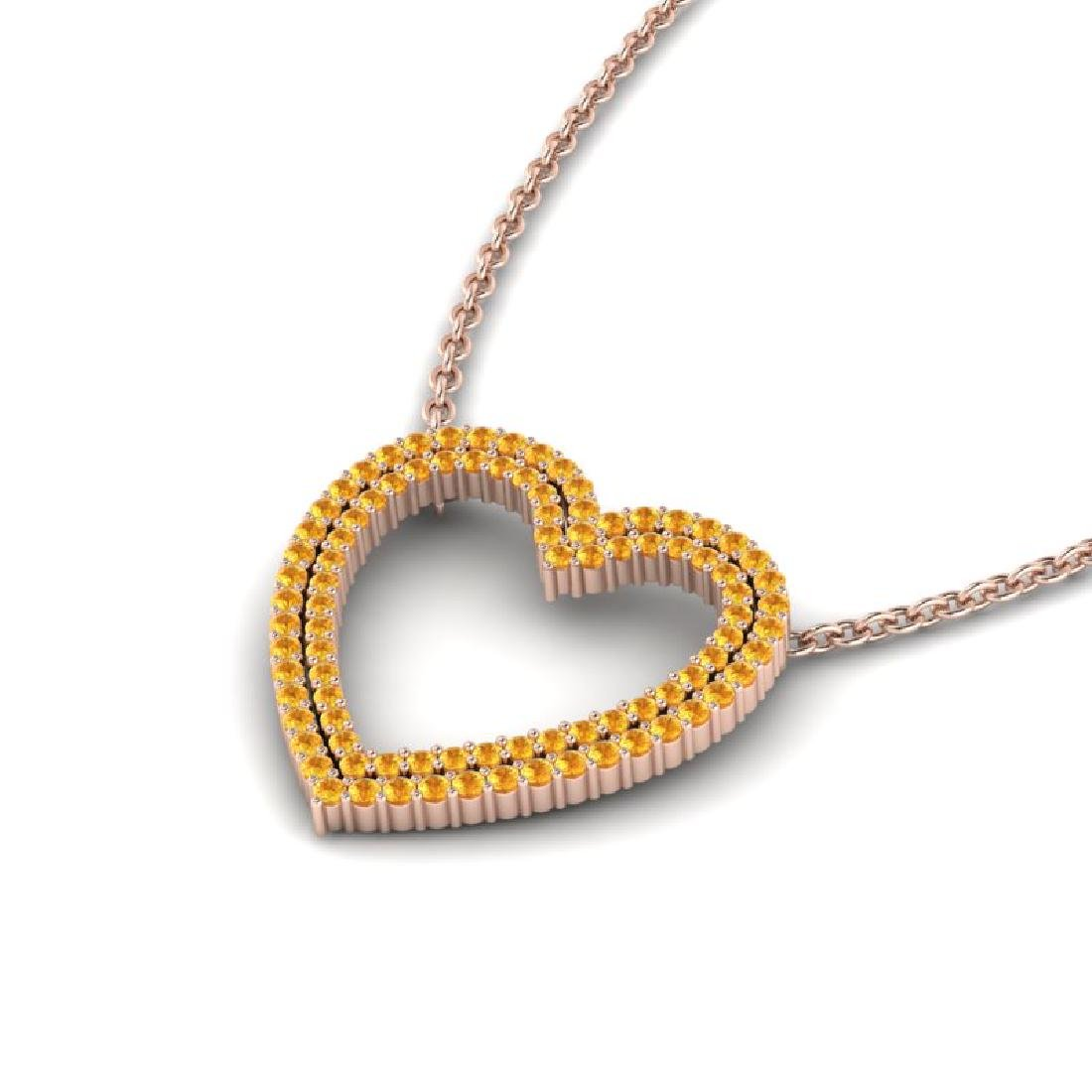 3.50 CTW Yellow Sapphire Heart Halo Designer Necklace - 2