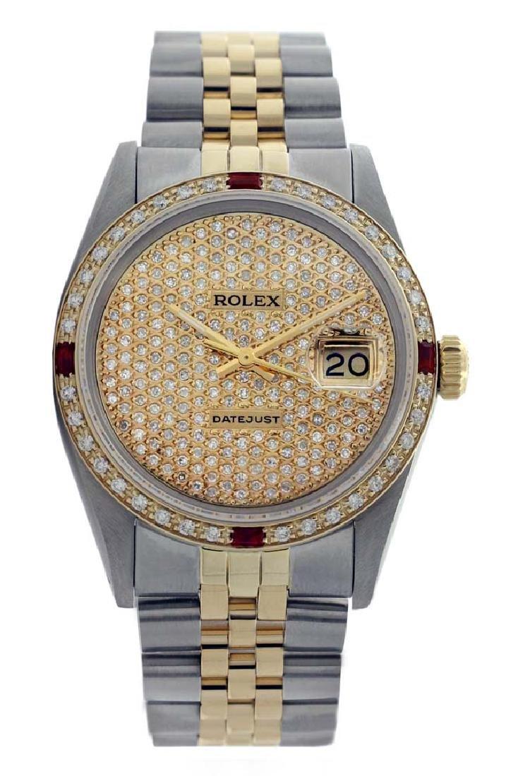 Rolex Men's Two Tone 14K Gold/SS, QuickSet, Diam Pave