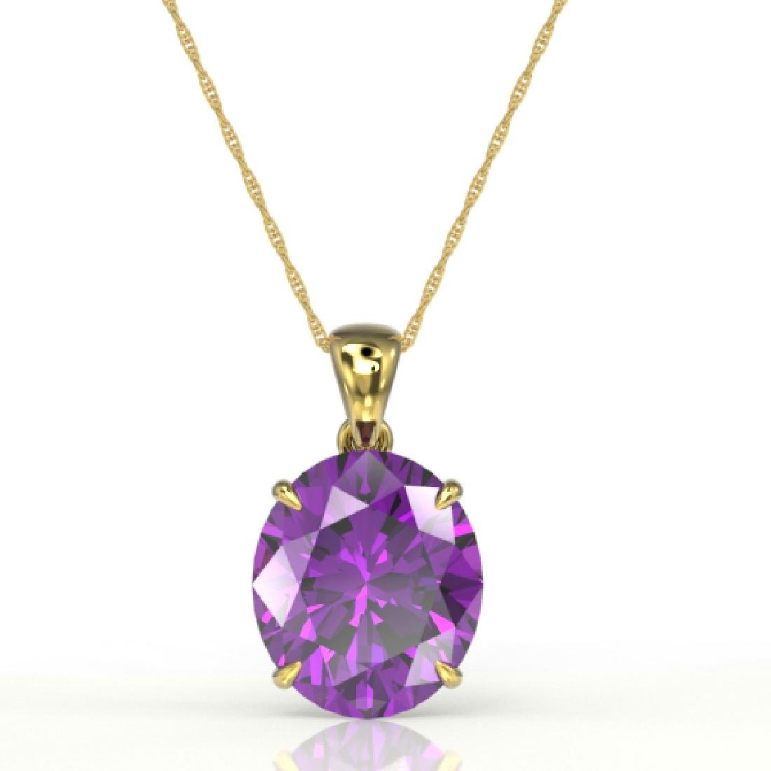 9 CTW Amethyst Designer Solitaire Necklace 18K Yellow - 2