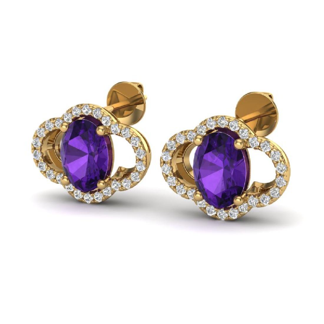 4 CTW Amethyst And Micro Pave VS/SI Diamond Earrings