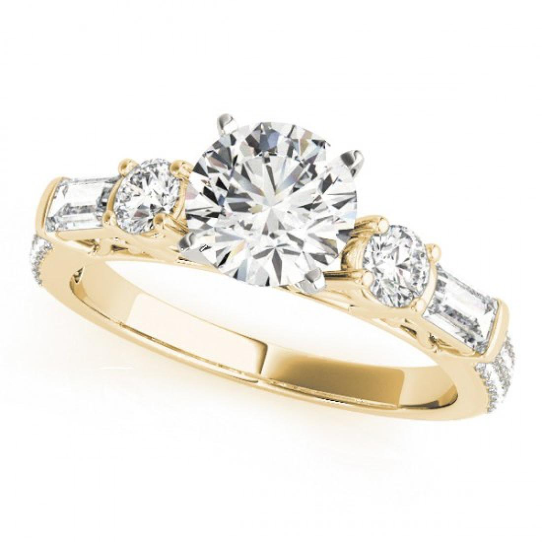 2.5 CTW Certified VS/SI Diamond Pave Solitaire Ring 14K - 2