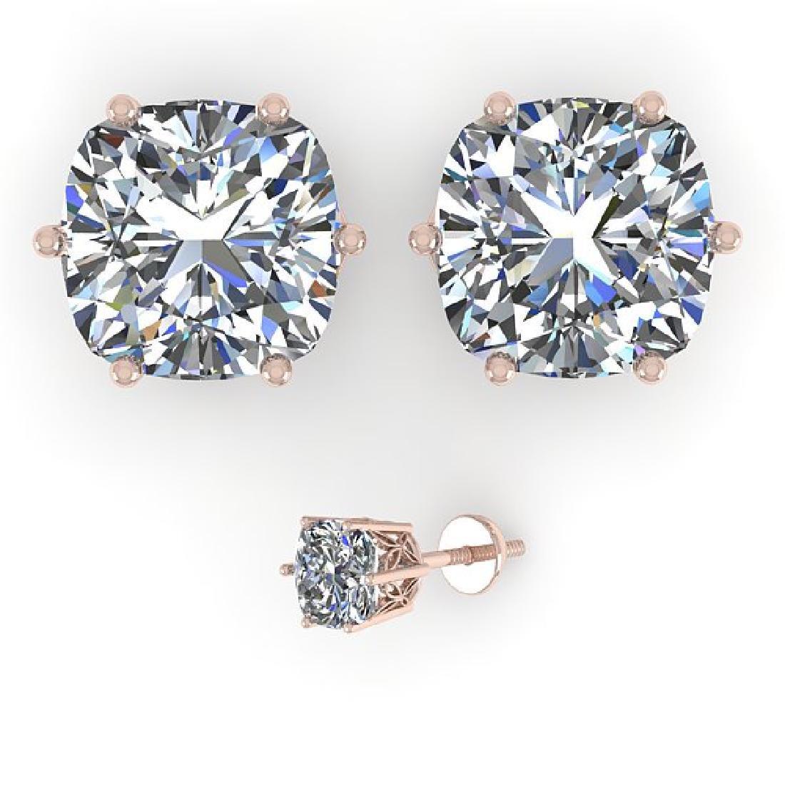 1.0 CTW VS/SI Cut Cushion Diamond Stud Art Deco - 2
