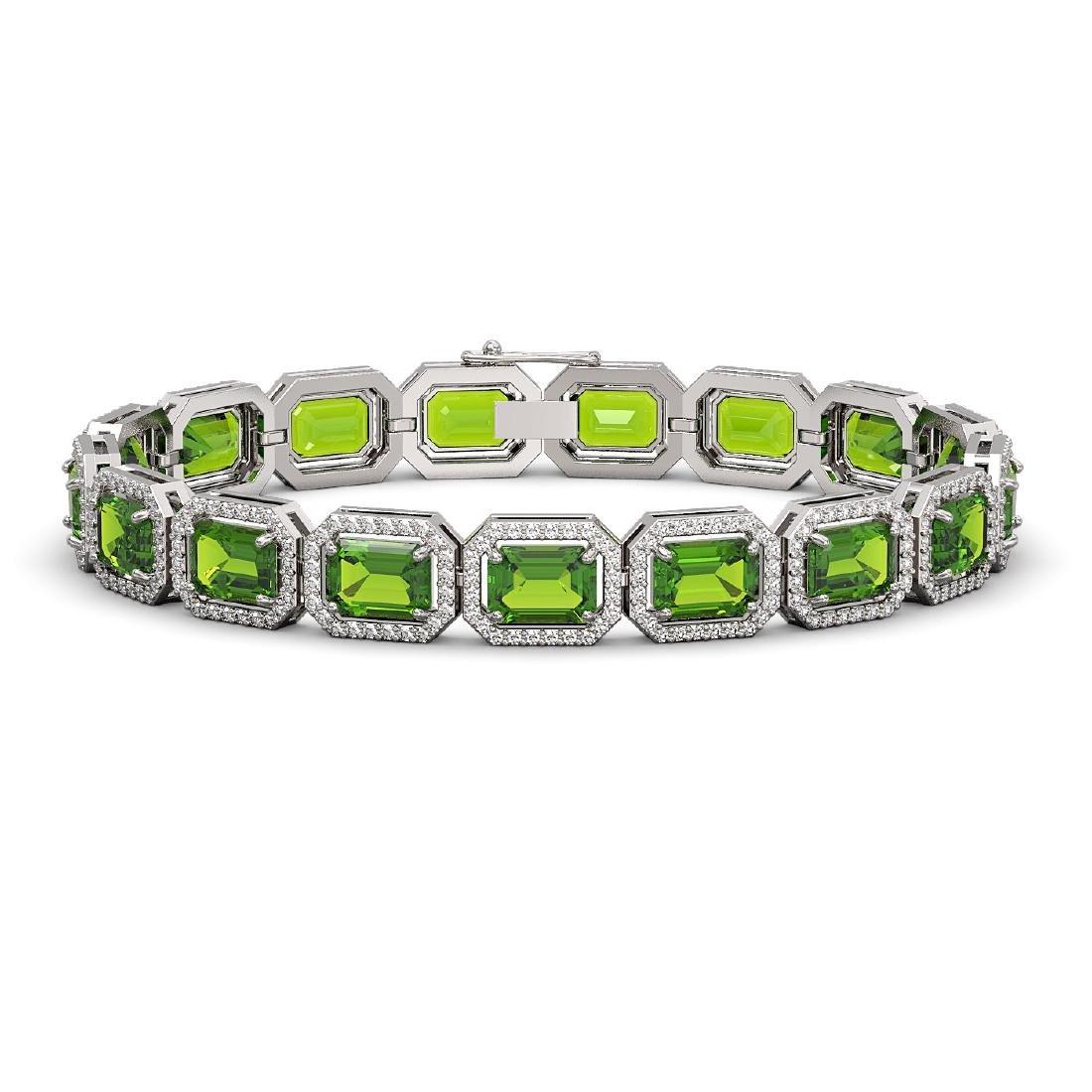 25.41 CTW Peridot & Diamond Halo Bracelet 10K White