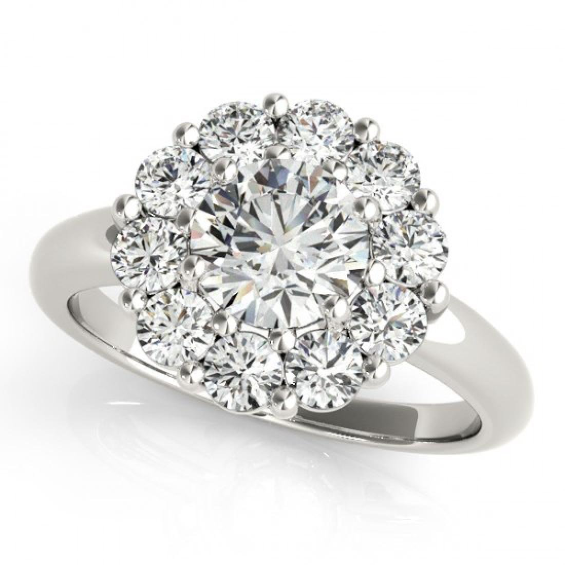 1.38 CTW Certified VS/SI Diamond Solitaire Halo Ring
