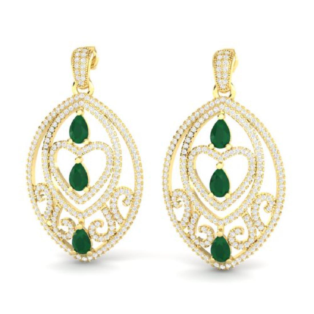 7 CTW Emerald & Micro Pave VS/SI Diamond Heart Earrings
