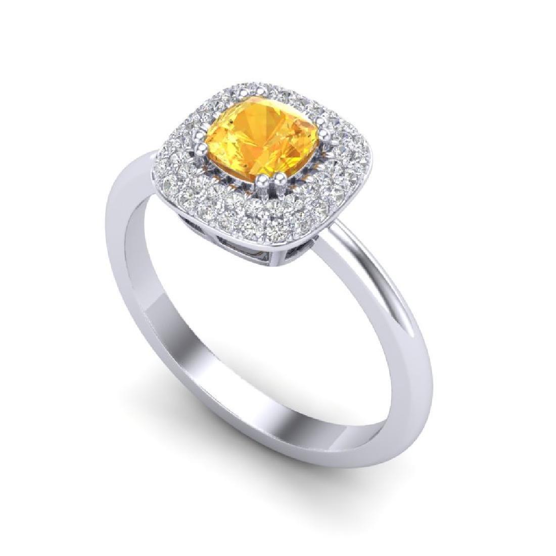 1.16 CTW Citrine & Micro VS/SI Diamond Ring Solitaire - 2