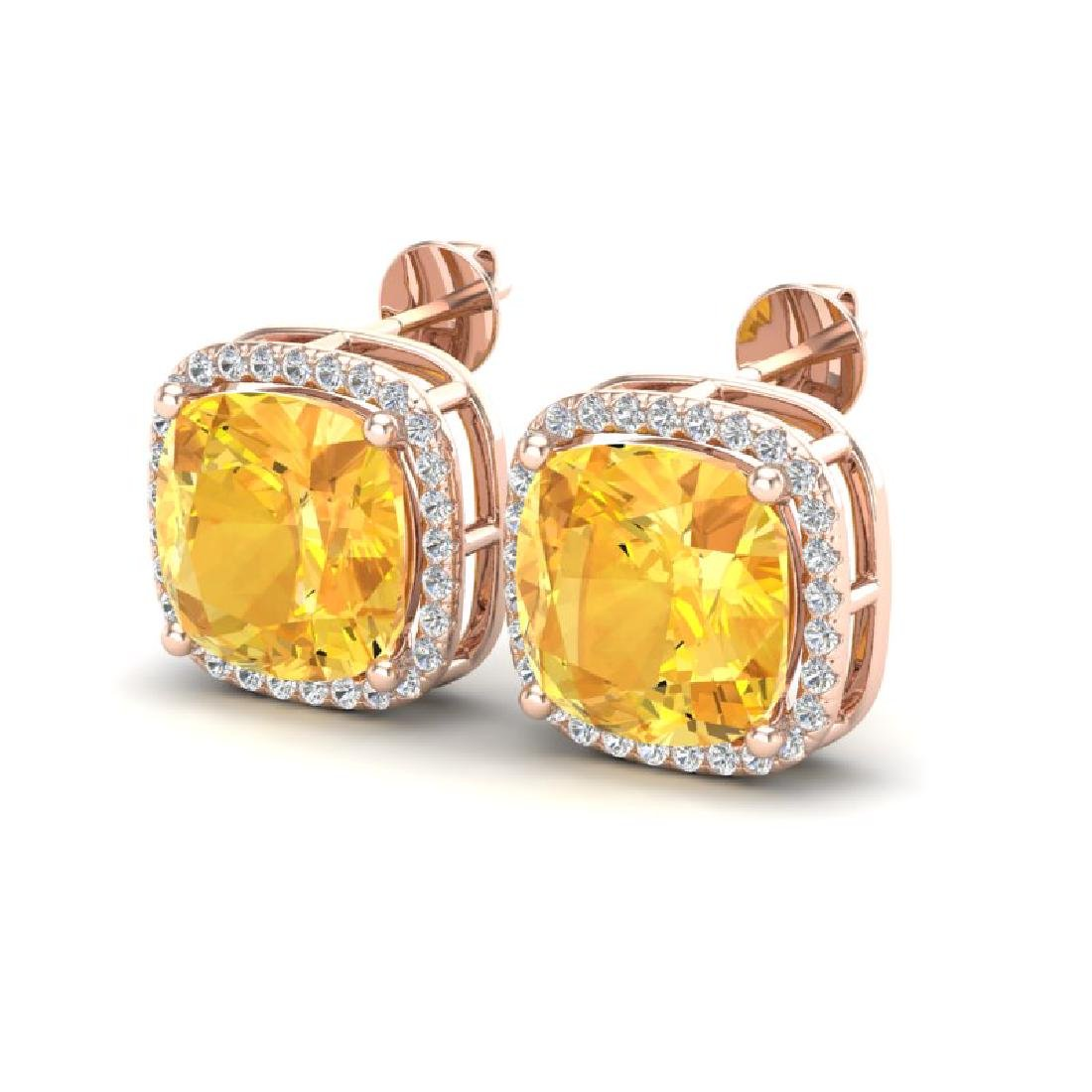 12 CTW Citrine & Micro Pave Halo VS/SI Diamond Earrings