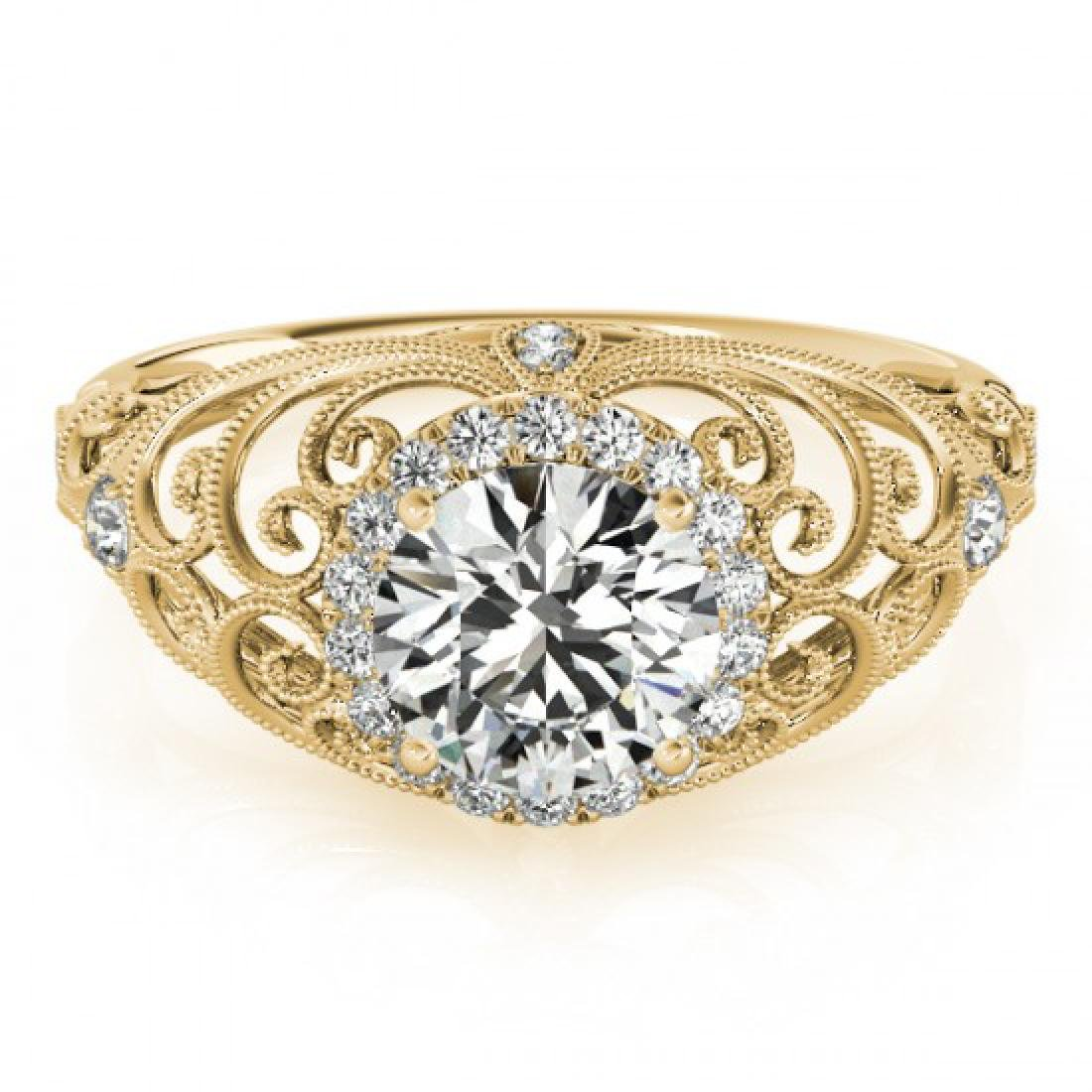 1.22 CTW Certified VS/SI Diamond Solitaire Halo Ring