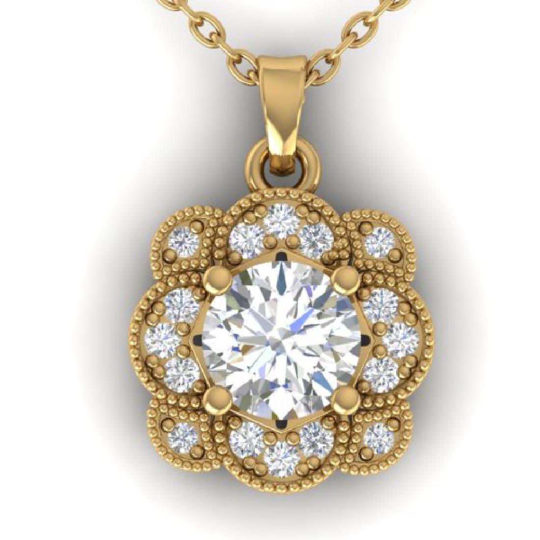 0.75 CTW I-SI Diamond Solitaire Art Deco Necklace 18K