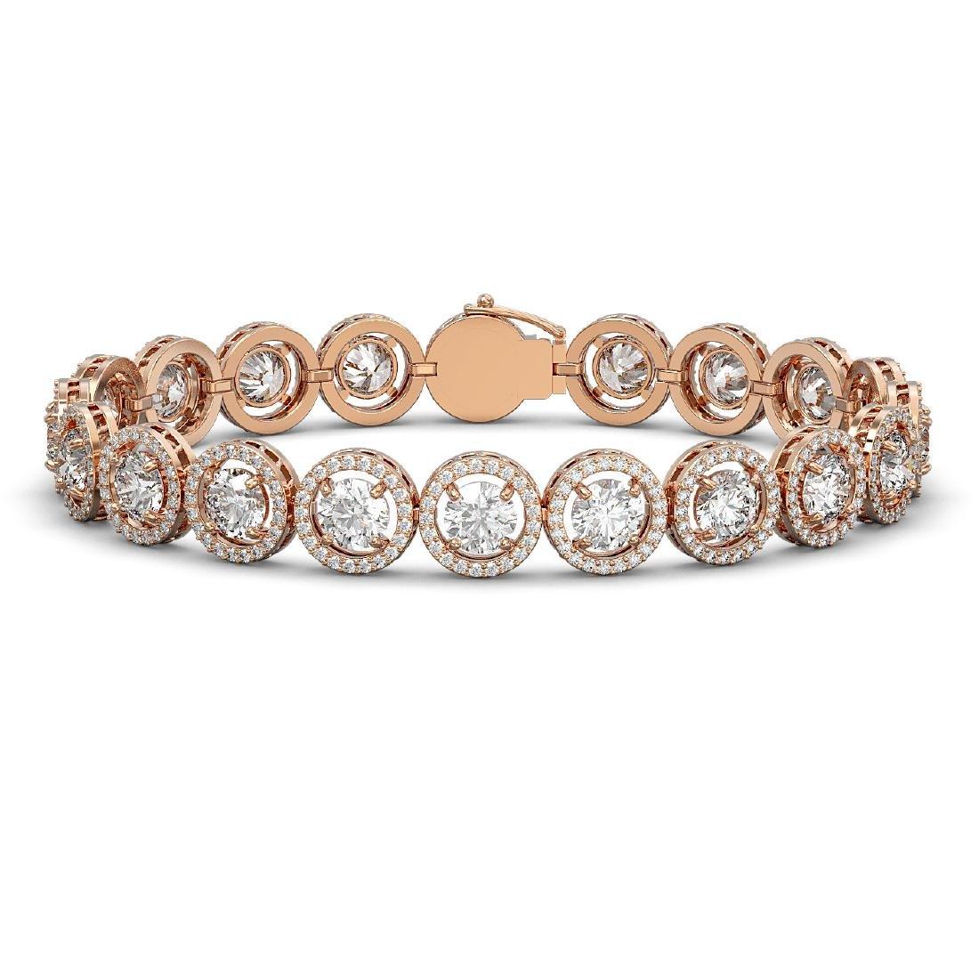 13.42 CTW Diamond Designer Bracelet 18K Rose Gold