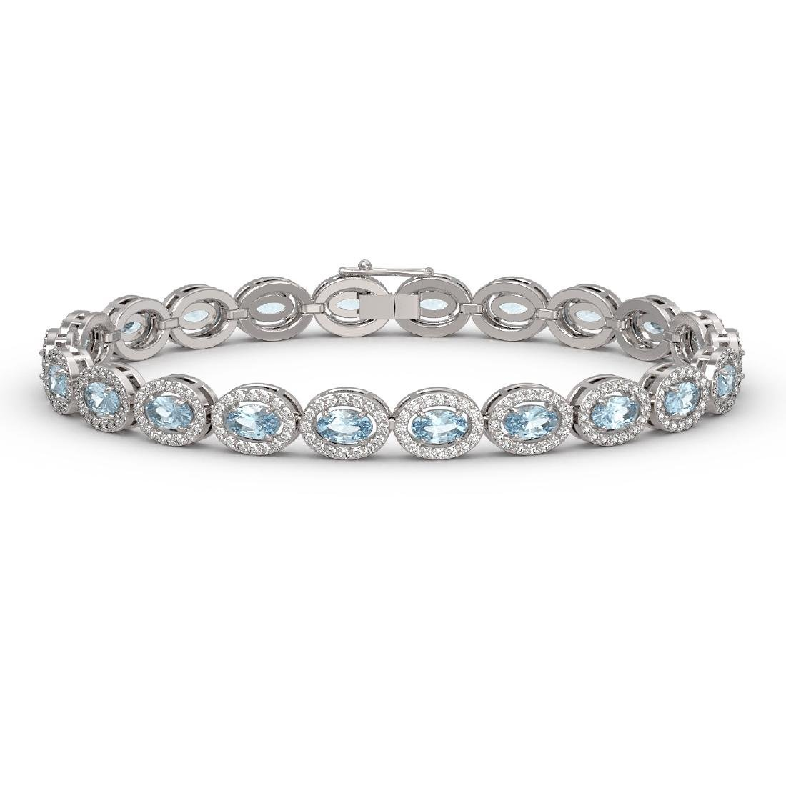 10.11 CTW Aquamarine & Diamond Halo Bracelet 10K White