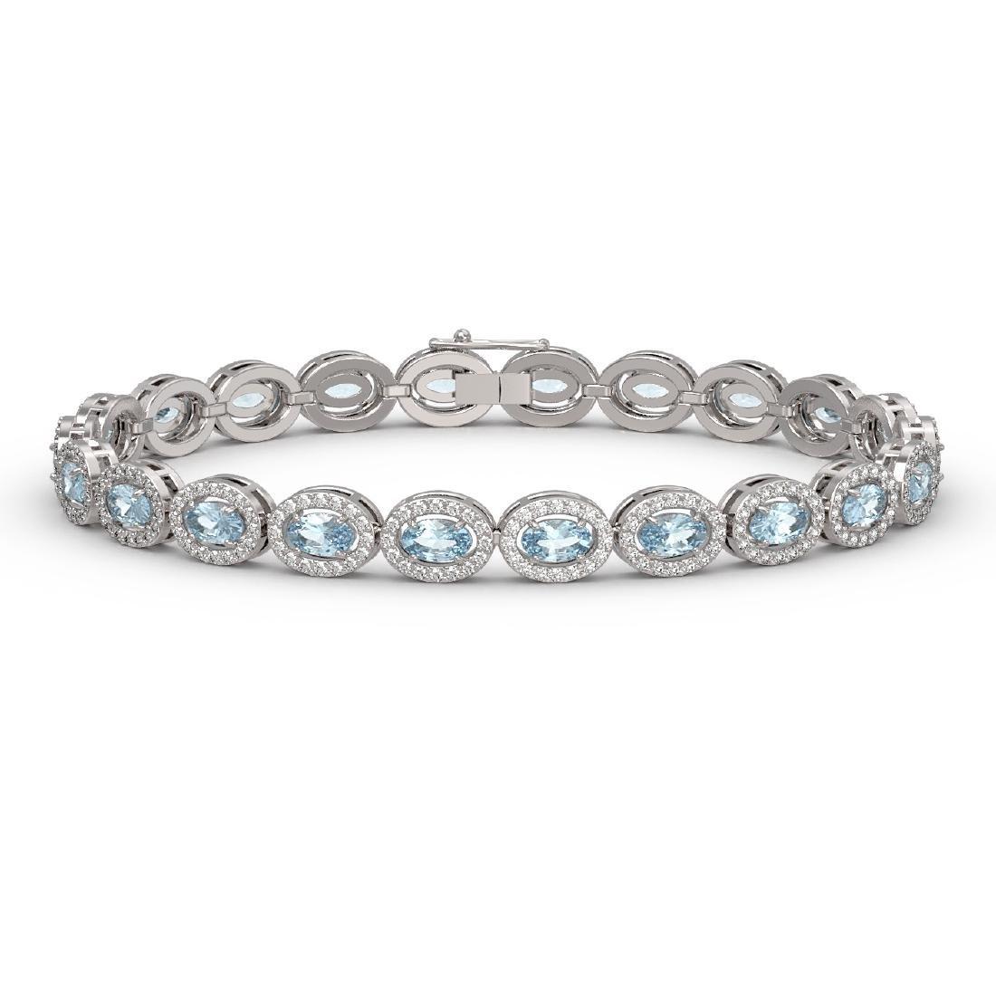 10.11 CTW Aquamarine & Diamond Halo Bracelet 10K White