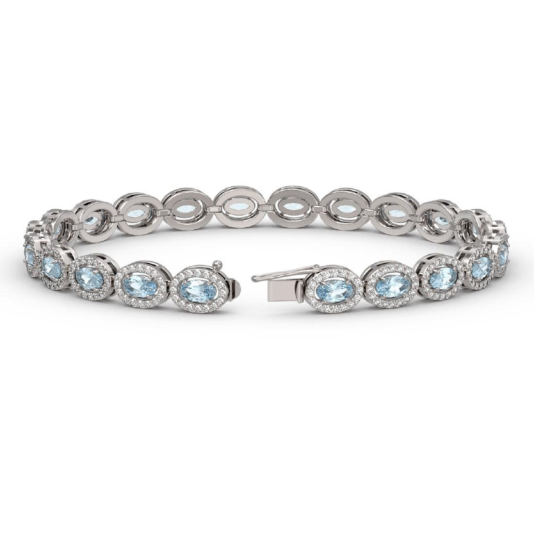 10.11 CTW Aquamarine & Diamond Halo Bracelet 10K White - 2