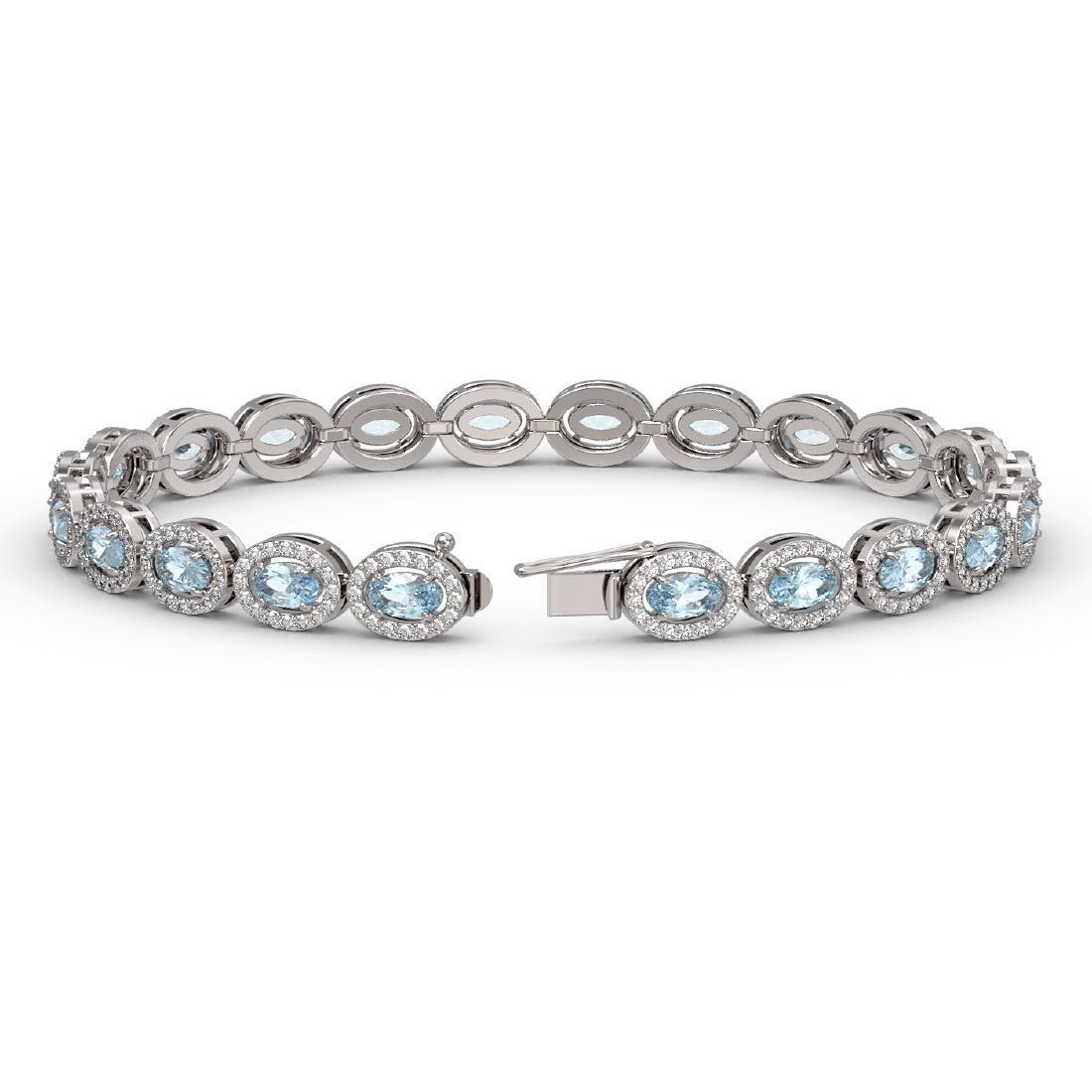10.11 CTW Aquamarine & Diamond Halo Bracelet 10K White - 2