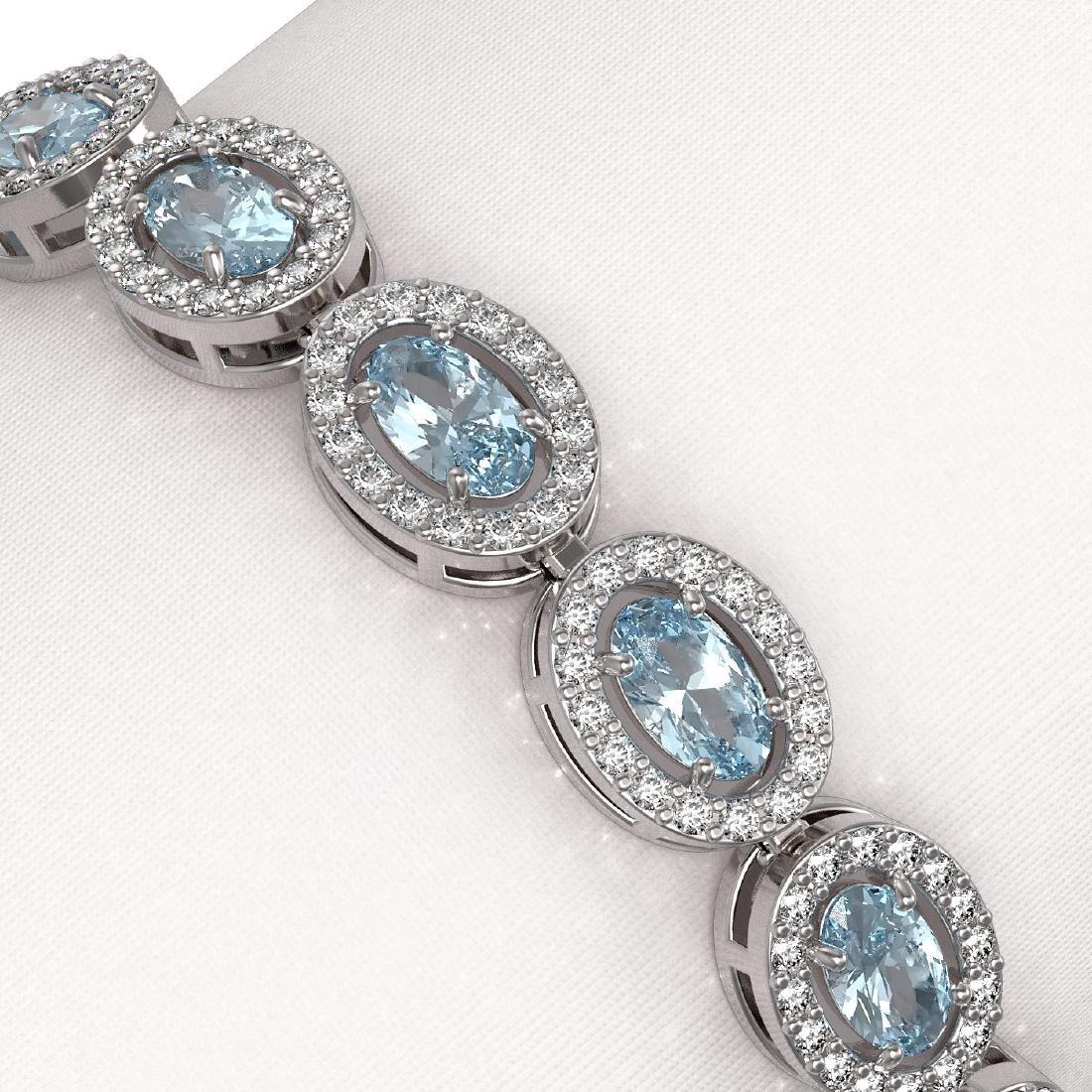 10.11 CTW Aquamarine & Diamond Halo Bracelet 10K White - 3