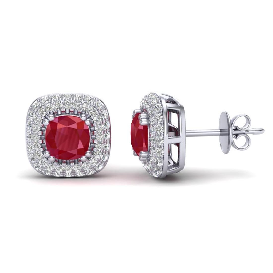 2.16 CTW Ruby & Micro VS/SI Diamond Earrings Solitaire - 2