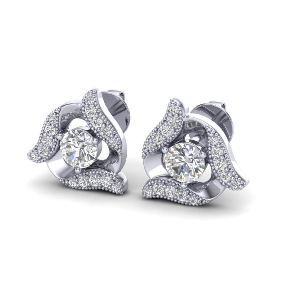 0.76 CTW Micro Pave VS/SI Diamond Halo Earrings 18K