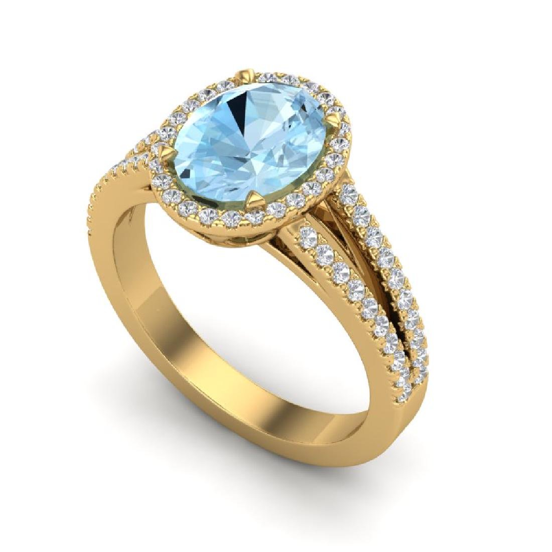3 CTW Aquamarine & Micro VS/SI Diamond Halo Solitaire - 2