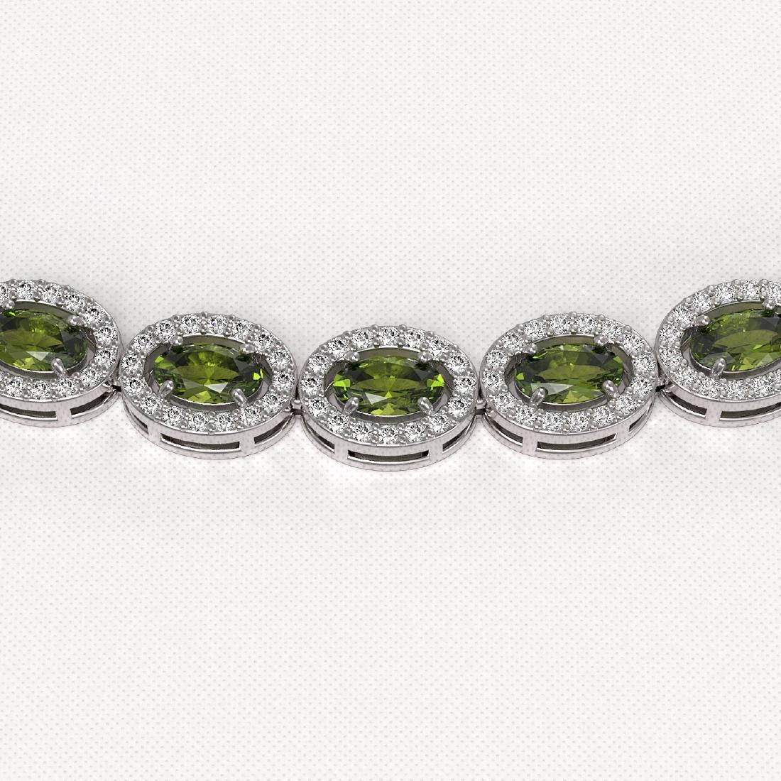 23.57 CTW Tourmaline & Diamond Halo Necklace 10K White - 3