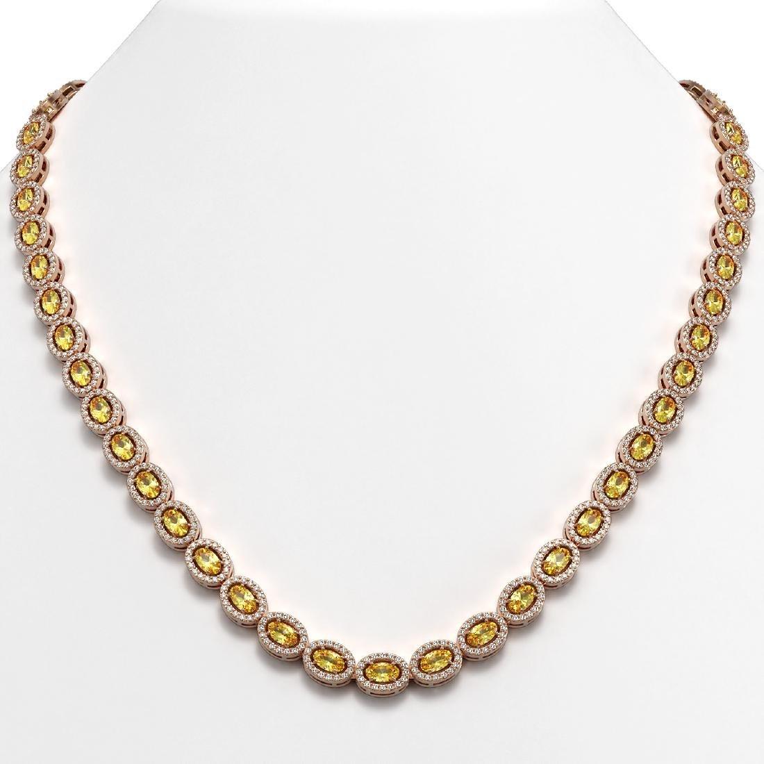 20.16 CTW Fancy Citrine & Diamond Halo Necklace 10K
