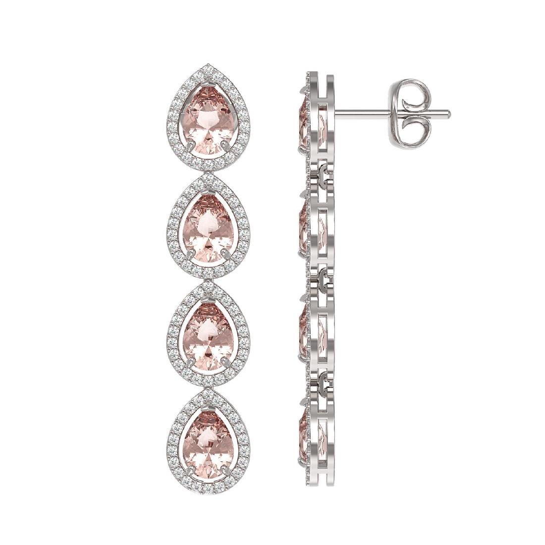 7.8 CTW Morganite & Diamond Halo Earrings 10K White - 2