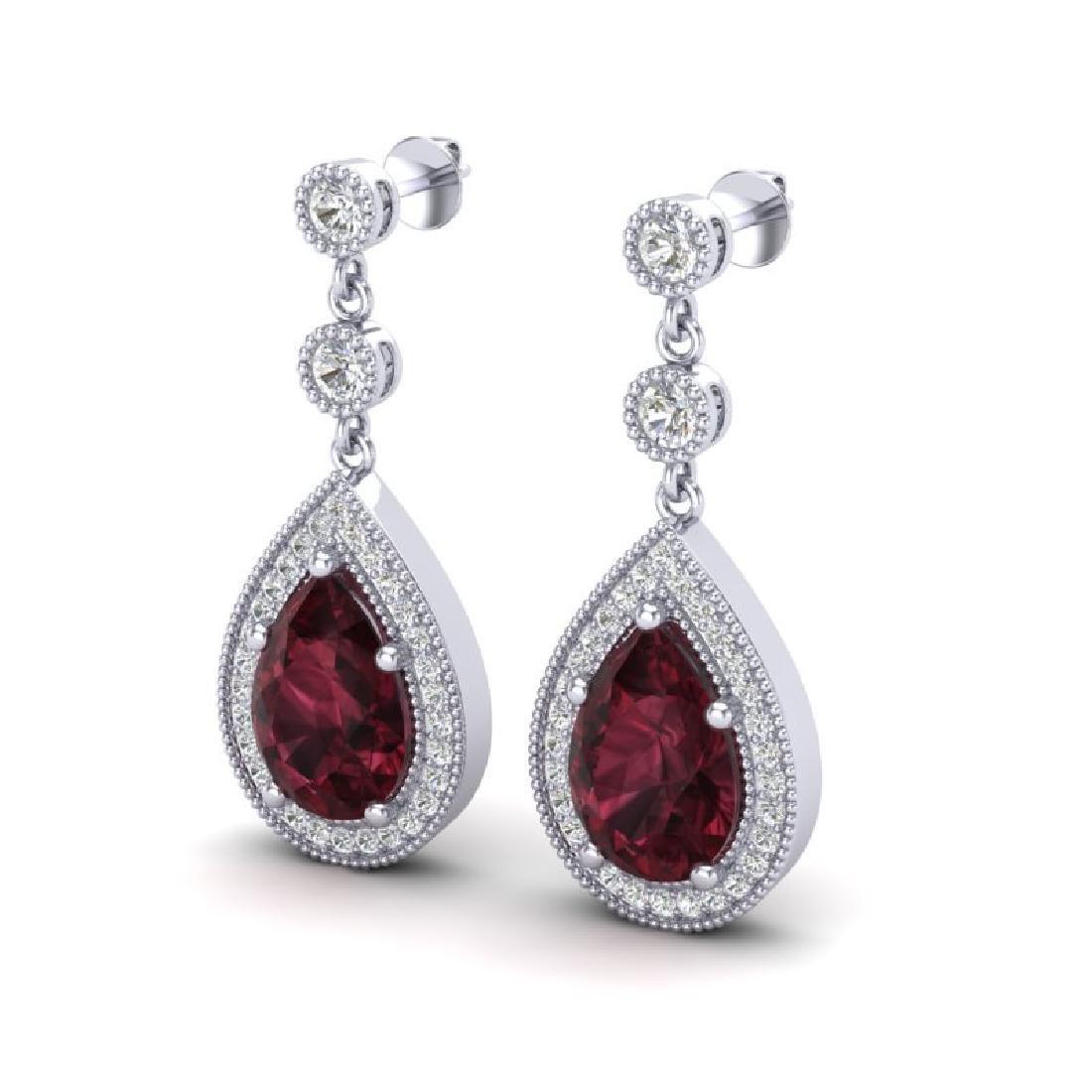 4.50 CTW Garnet & Micro Pave VS/SI Diamond Earrings
