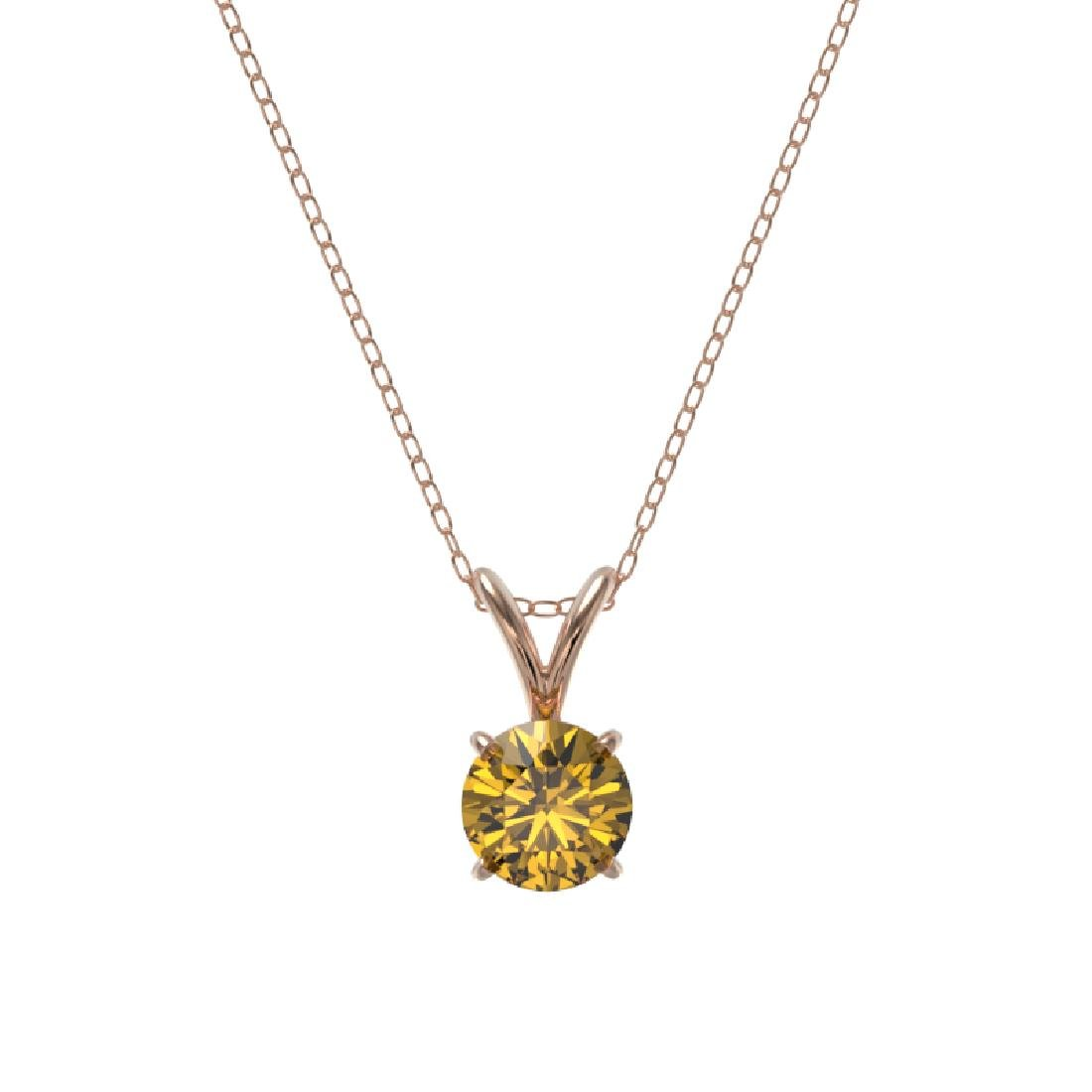 0.50 CTW Certified Intense Yellow SI Diamond Solitaire - 3