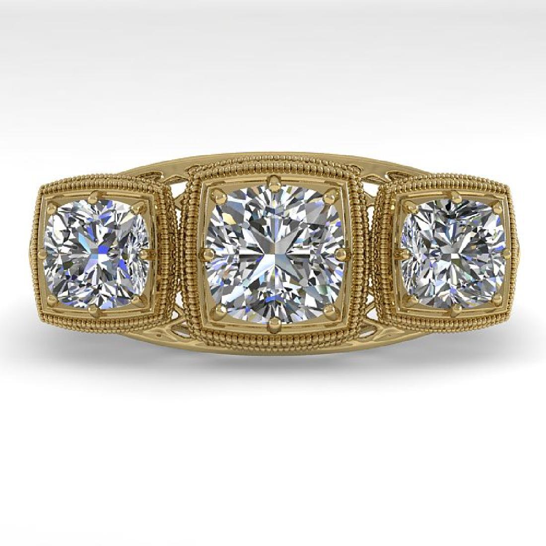 2 CTW VS/SI Cushion Cut Diamond Ring Art Deco 14K