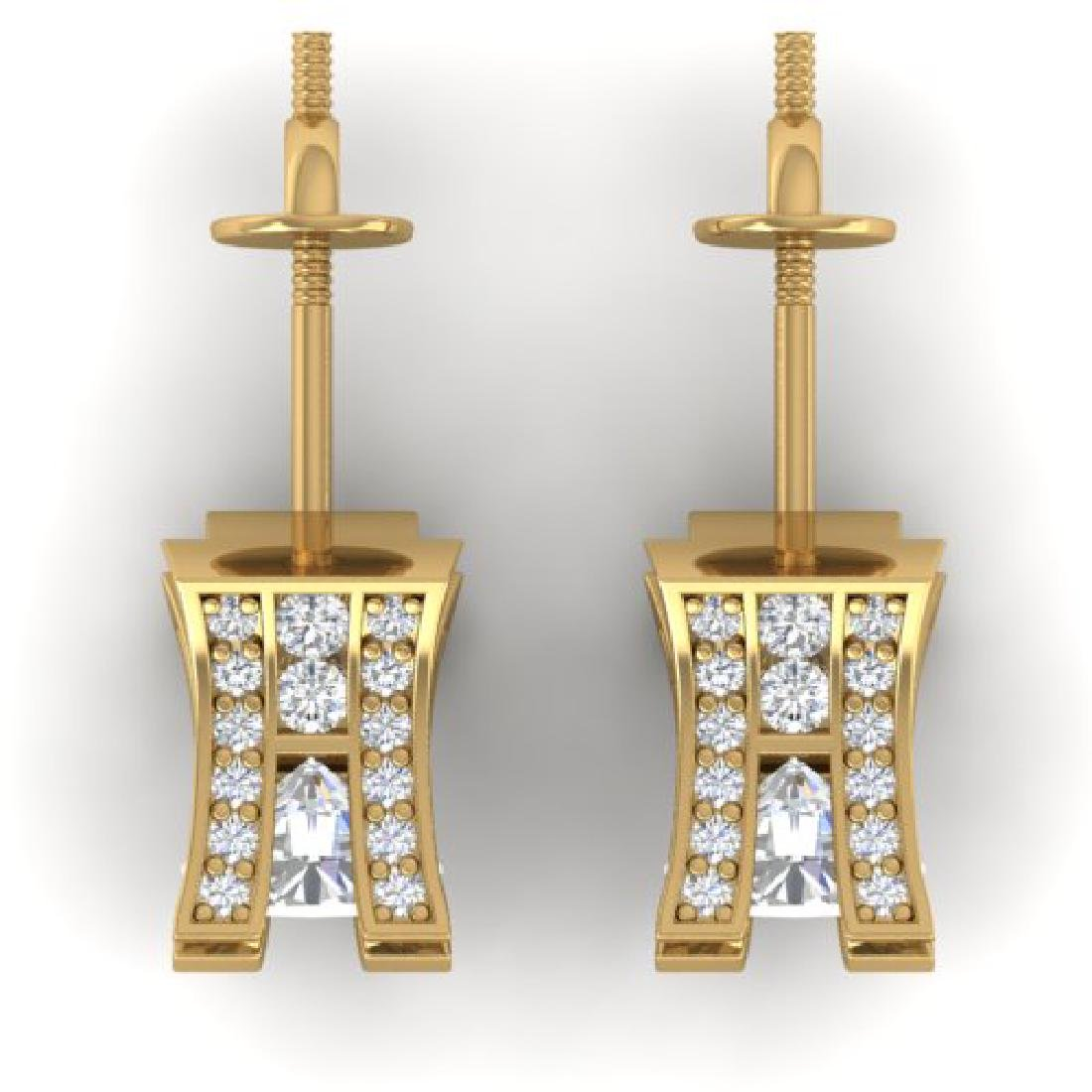 2.25 CTW I-SI Diamond Solitaire Art Deco Stud Micro - 3