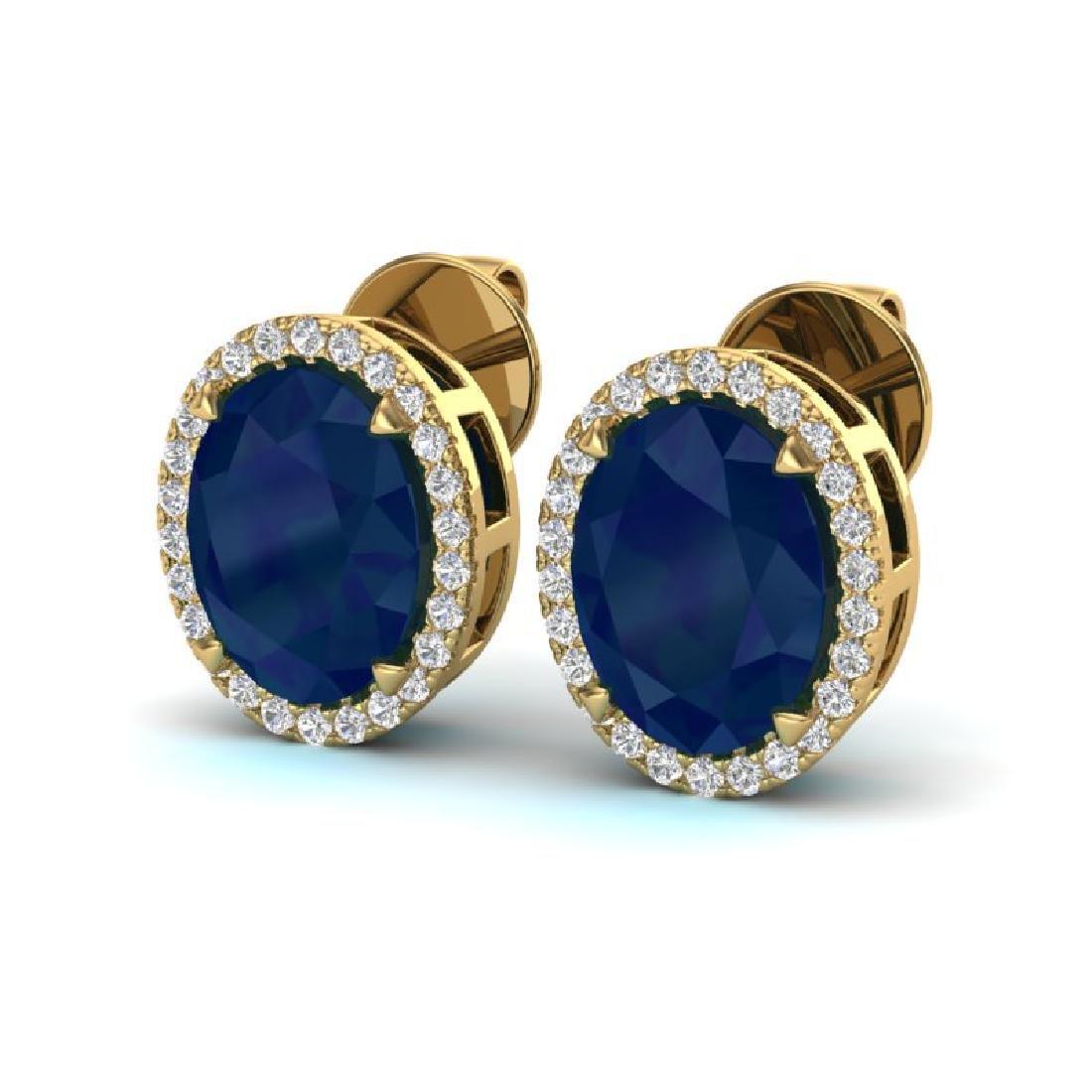 5.50 CTW Sapphire & Micro VS/SI Diamond Halo Earrings