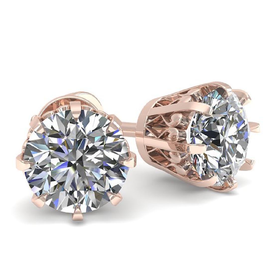 1.03 CTW VS/SI Diamond Stud Solitaire Earrings 14K Rose