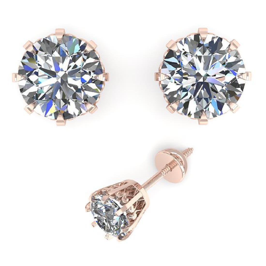 1.03 CTW VS/SI Diamond Stud Solitaire Earrings 14K Rose - 2