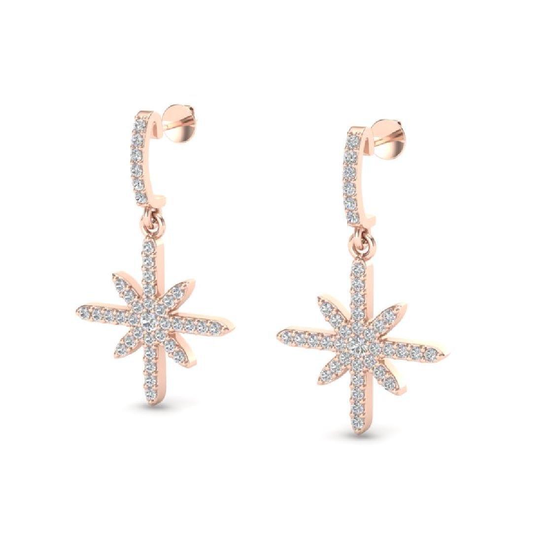 0.75 CTW Micro Pave VS/SI Diamond Earrings 14K Rose
