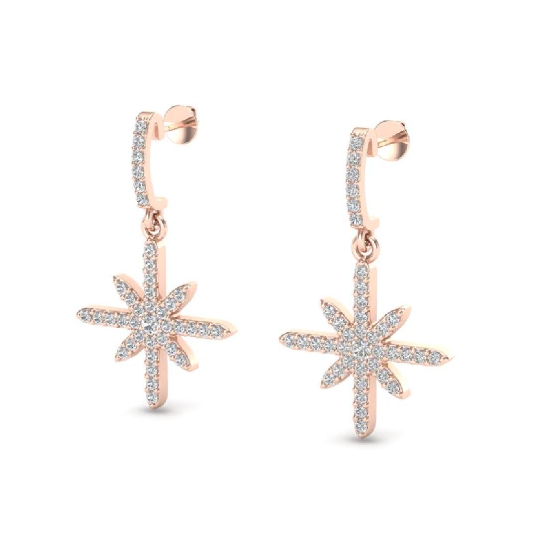 0.75 CTW Micro Pave VS/SI Diamond Earrings 14K Rose