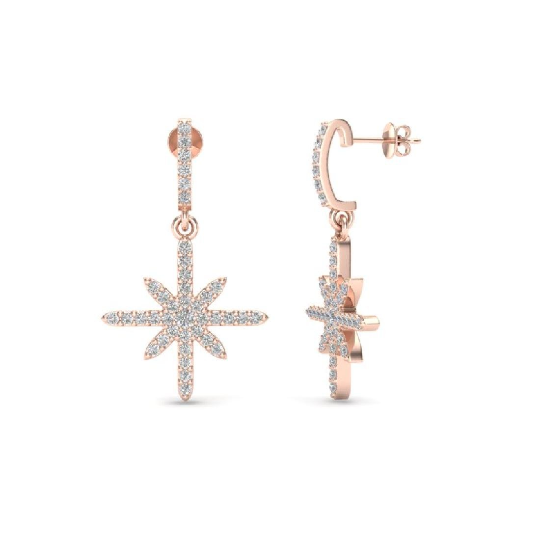 0.75 CTW Micro Pave VS/SI Diamond Earrings 14K Rose - 2