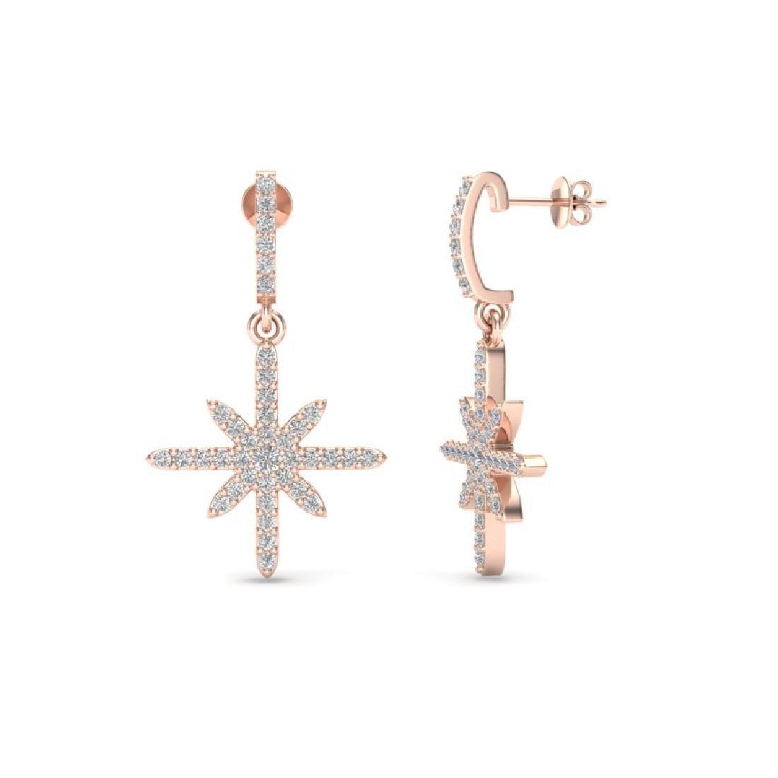 0.75 CTW Micro Pave VS/SI Diamond Earrings 14K Rose - 2