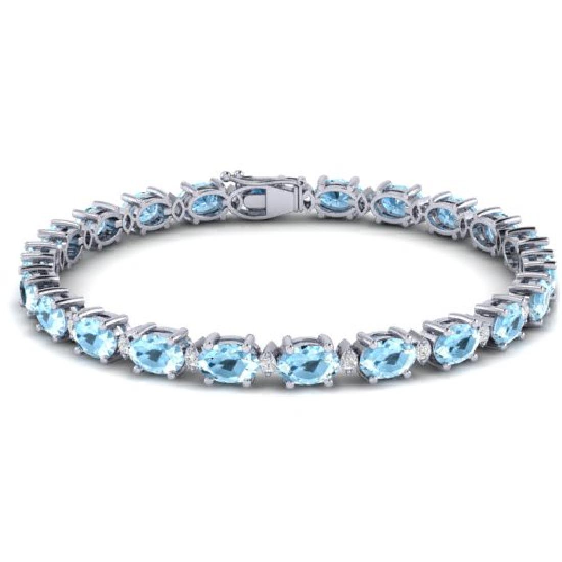 10 CTW Aquamarine & VS/SI Diamond Eternity Bracelet 10K - 2