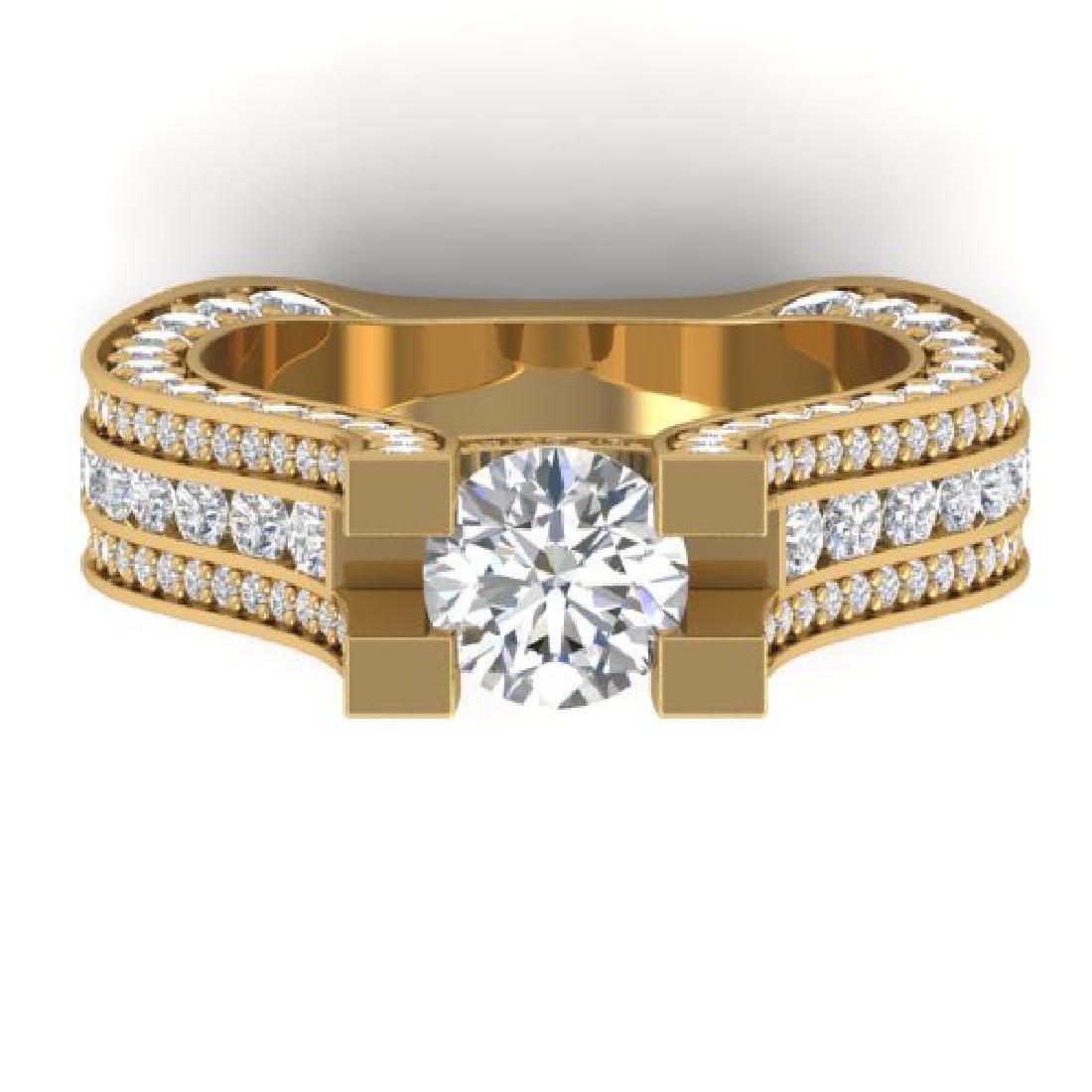 4.5 CTW Certified VS/SI Diamond Art Deco Micro Ring 18K