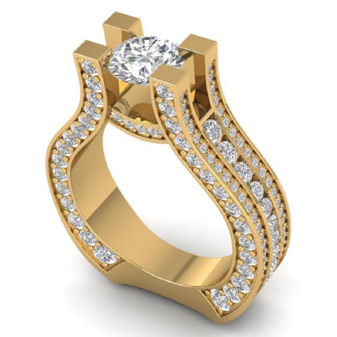4.5 CTW Certified VS/SI Diamond Art Deco Micro Ring 18K - 2