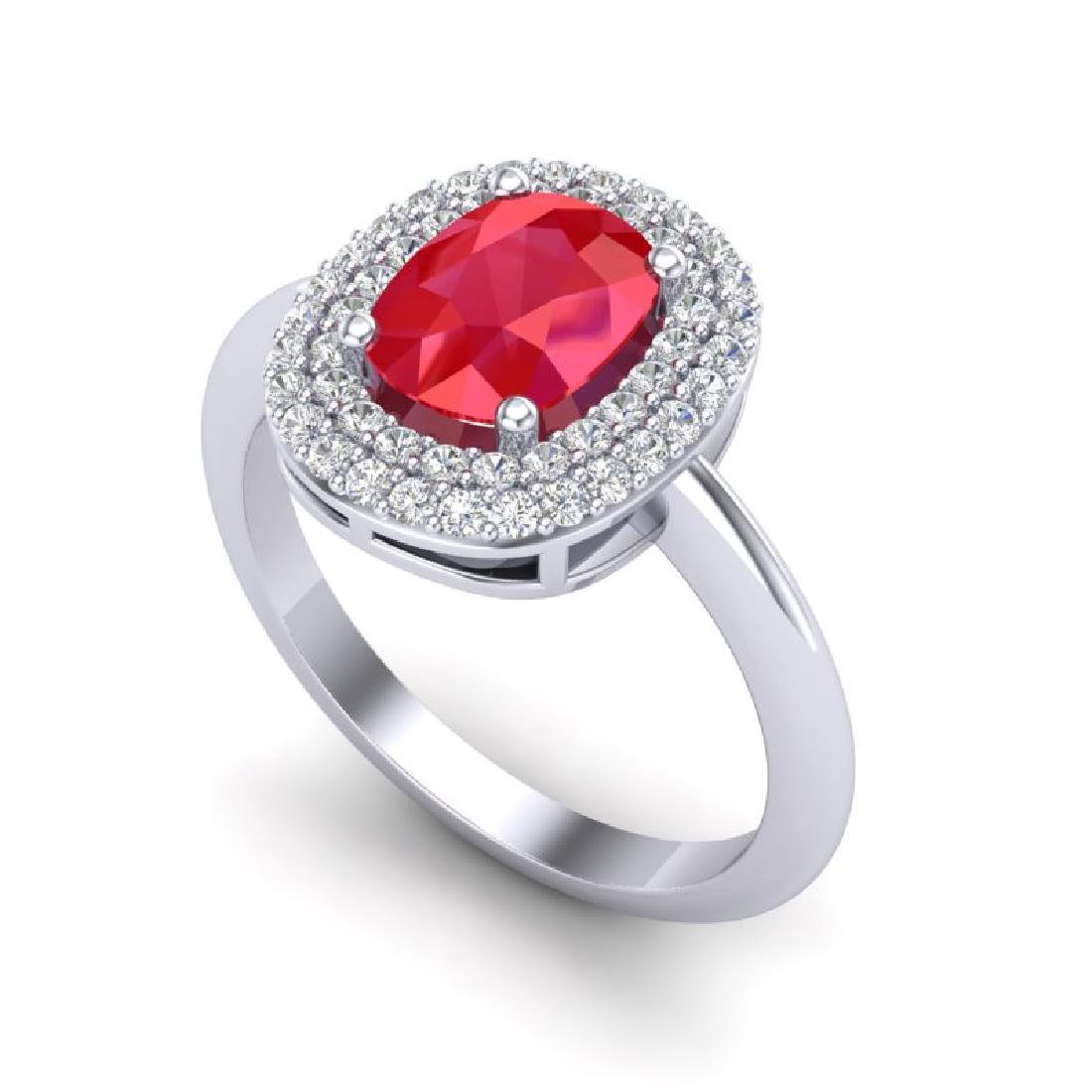 2.50 CTW Ruby With Micro VS/SI Diamond Ring Halo - 2