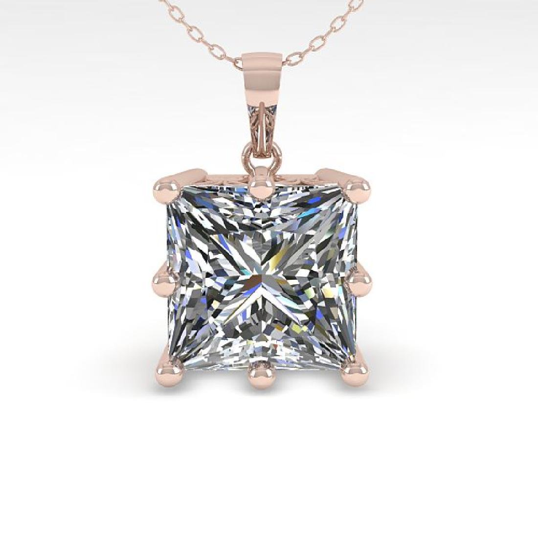 1 CTW VS/SI Princess Diamond Art Deco Necklace 14K Rose - 2
