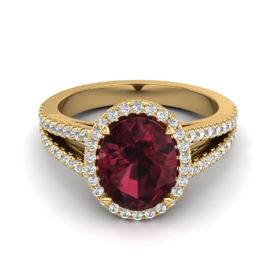 3 CTW Garnet & Micro VS/SI Diamond Halo Ring 18K Yellow