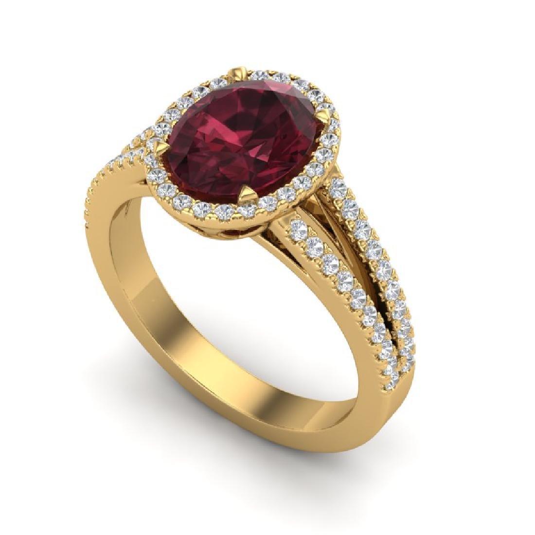 3 CTW Garnet & Micro VS/SI Diamond Halo Ring 18K Yellow - 2