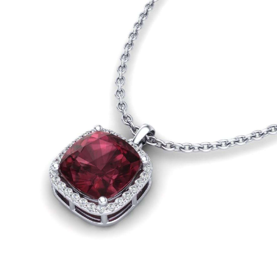 6 CTW Garnet & Micro Pave Halo VS/SI Diamond Necklace